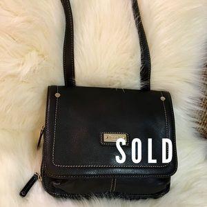 SOLD! TIGNANELLO Black Pebbled Leather X-Body